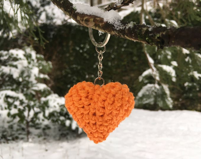 Crochet Handmade Orange Heart Keyring Keychain