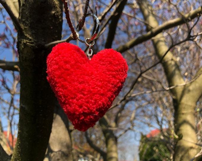 Crochet Handmade Red Heart Keyring Keychain