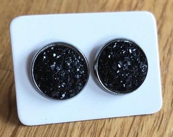 Cabochon Earring, Cabochon Earring 12mm, Black, Gift, Jewelry, Earings