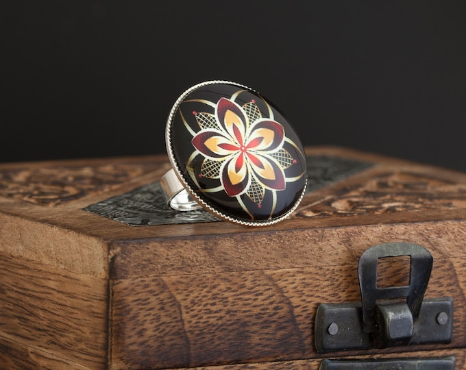 Mandala Ring, Red Black Yellow Adjustable Ring, Glass Dome Ring, Silber Ring, Jewelry Gift, Fashion Ring