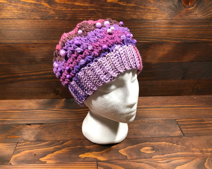 Crochet hat, Adult hat, Teen hat, Purple