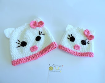Crochet hat, Kitty, Crochet Kitty hat, Child kitty hat, Baby kitty hat, Kitty hat for baby, Hat for toddlers,