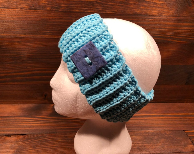Crochet headband, Adult headband, Teen headband, Cotton, Viscose, Blue , Button