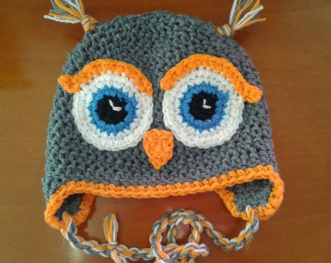 Crochet hat, Owl, Crochet owl hat, Child owl hat, Baby owl hat, Boys owl hat, Boys winter hat, Owl hat for baby, Hat for toddlers,
