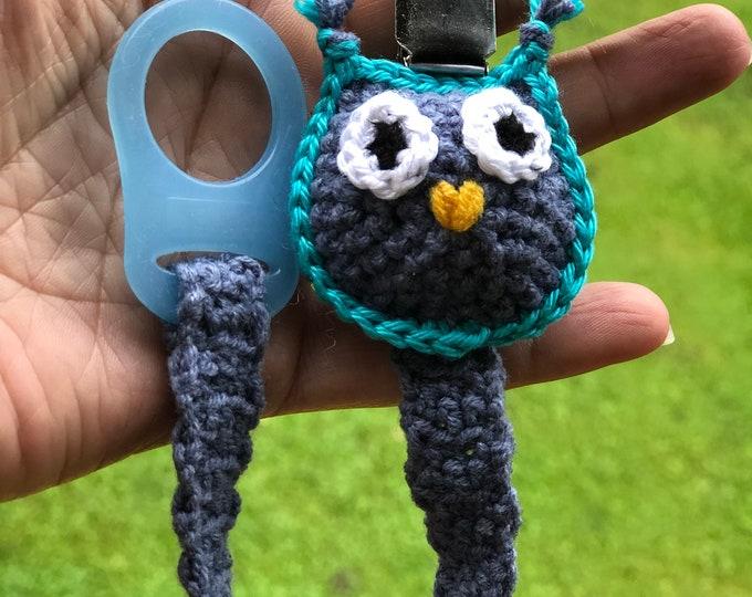 Pacifier Holder - Crochet Pacifier Holder - Baby Pacifier Holder - blue Owl