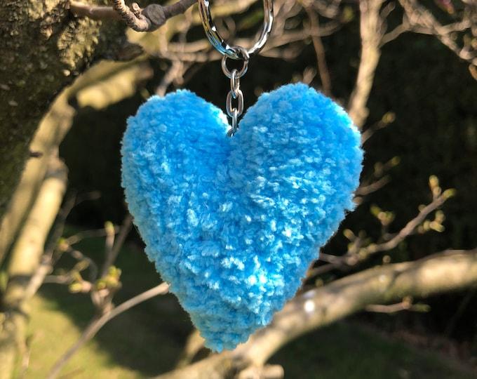 Crochet Handmade Blue Heart Keyring Keychain