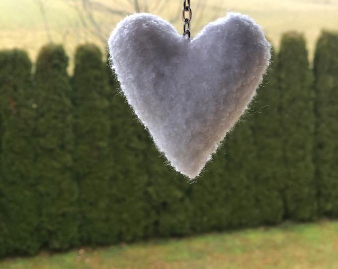 Crochet Handmade White Heart Keyring Keychain