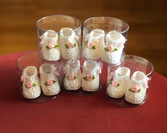 Confetti - Pair in Box - Guests Gift- Christening - Cotton - Crochet - Baby gift - Baby Confetti