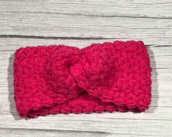Soft Woll, Crochet earwarmer, Adult headband, Teen headband, Soft Woll and Acrilic, Star Stitch Crochet, NEW, Hot Pink