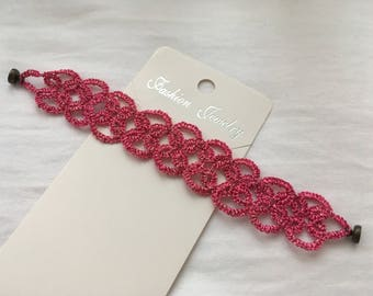 Tatting bracelet hanmade, Tat jewelry, Tatting bracelet, Tatted bracelet, Tatted, Tatting jewelry, Lace bracelet,