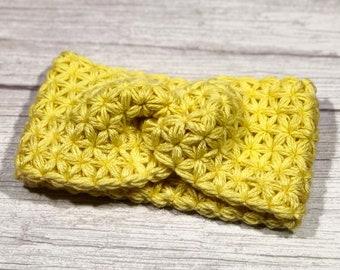 Merino superwash, Crochet earwarmer, Adult headband, Teen headband, Soft 100% merino yarn, Star Stitch Crochet, NEW, Yellow
