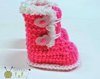 Crocheted slippers - soft wool yarn - winter edition 2019 (baby slippers, wool, baby gift, newborn, boy, girl)