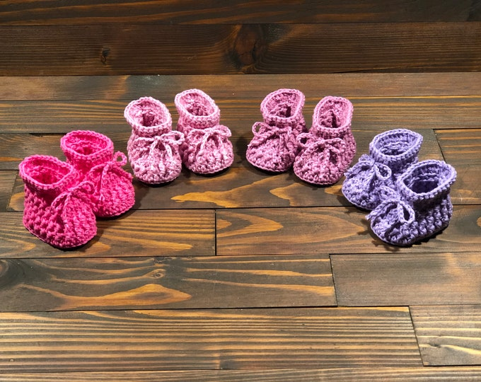 Featured listing image: Crocheted slippers - Organic Cotton - Limited Edition - New - Newborn Baby - Baby Gift