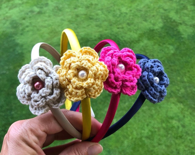 Featured listing image: Cute Satin Headband Colorful Women Adult Kids Girls with Crochet Flower (SALE -10% OFF)
