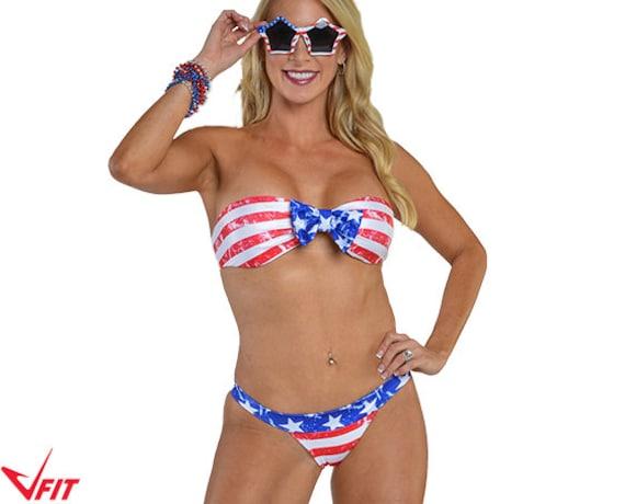 062c4c851e American Flag USA Bandeau Bikini swimsuit 2-piece swimwear