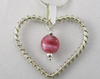 Twisted Silver Plate Heart with Glass Bead