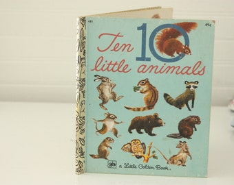 Vintage Little Golden Book, Ten Little Animals,  Little Golden Book, 1976  Edition, Vintage LGB, LGB, Golden Book