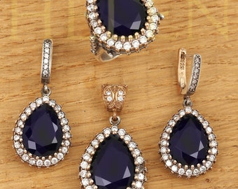 Topaz 925 Silver,Jewelry Set Earrings Necklace and Adjustable Ring Great Gift!!!Turkish Handmade Sapphire