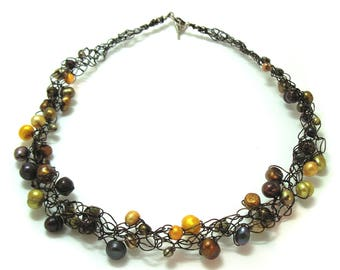 Crocheted wire and Freshwater Pearl Earthtone Mix Necklace