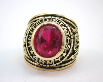 Vintage Palmbeach US ARMY 18kt Gold Electroplated with Simulated Ruby Ring