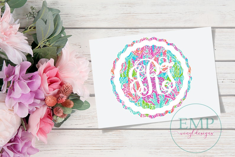 5500dfacd3dd25 Lilly Pulitzer Monogram Decal Lilly Pulitzer Car Decal Lilly | Etsy