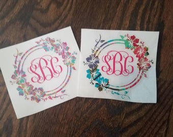 Floral Monogram Decal, Lilly Print Monogram Decal, Hawaiian Monogram Decal, Luau Car Decal, Yeti decal, Hibiscus Flower Decal