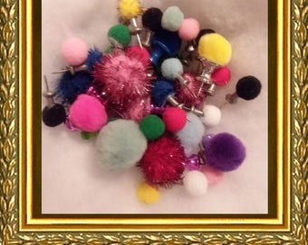 Assorted Pom Pom Push Pins - 24 Multicolored Push Pins - Oversized / Mini Push Pins - GREAT Teacher Gift! - Office Supplies - Secret Santa