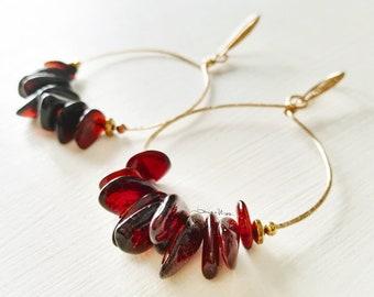 Gold hoop earrings pure caramel amber splinters