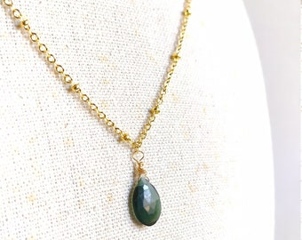 Short necklace 24k gold plated with green Russian Serpetine briolette pendant
