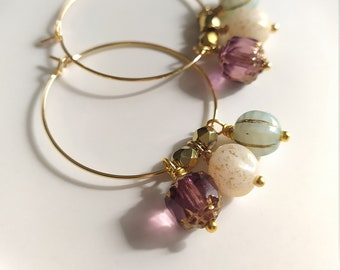 24k Gold Plated Hoop Earrings Decorated Glass Pendants White White Purple Pink