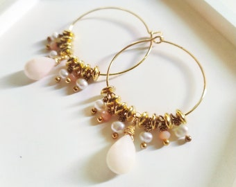 Hoop earrings with 18k gold pendants, pink glass beads, pink opal river pearls