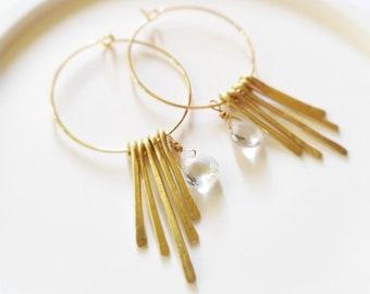 18k gold plated hoop earrings aqua green amethyst briolette pendant