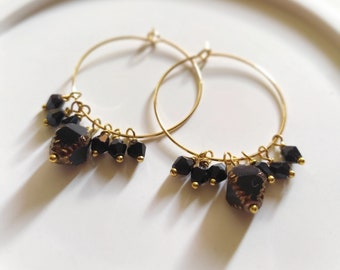 24k gold hoop earrings with swarovski crystals bicone black bronze gold ctzech glass