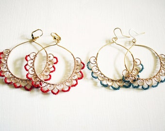 Hoop Earrings with Lace