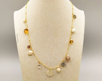 Semi-precious stone necklace, necklace with pendants, amethyst crystal pearls choker