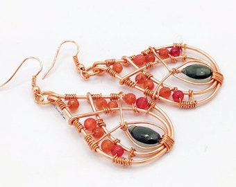 Drop earrings copper, stones, Russian serpentines, glass beads,