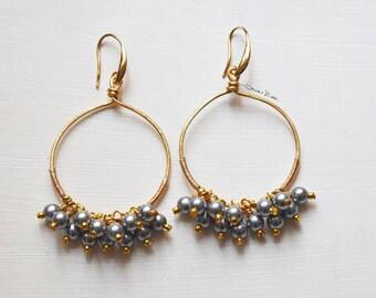 pendants hammered golden thread splinters of green fluorite Long earrings