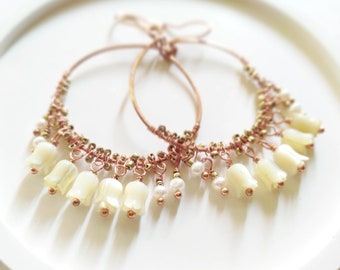Large copper hoop earrings with pearls and mother of pearl