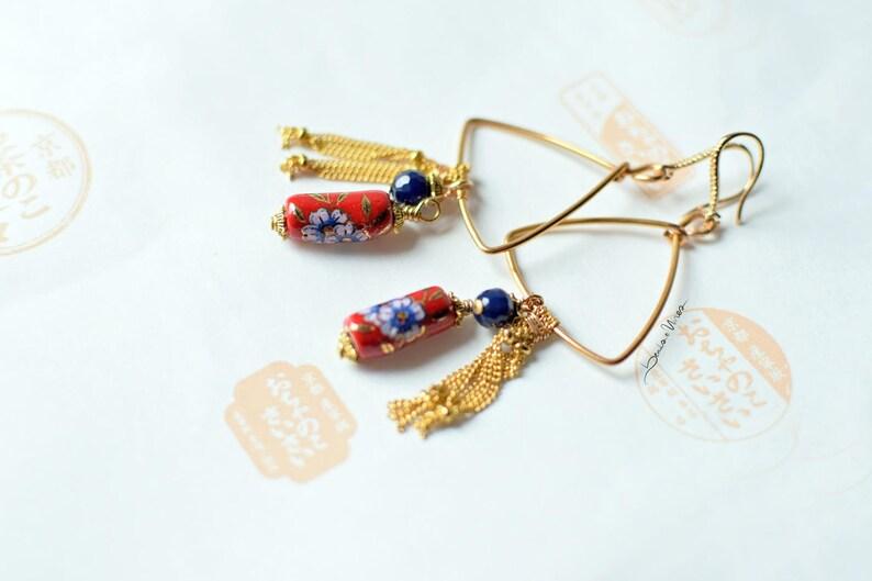 I love Japan long pendant earrings Japan inspired ceramic image 0