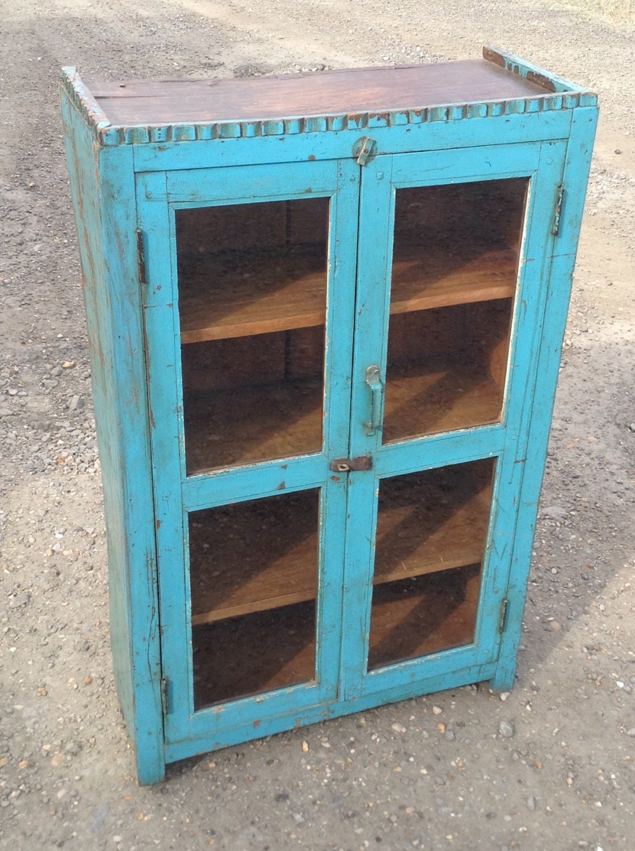 Antique Indian Blue Wooden Kitchen Cupboard / Bathroom ...