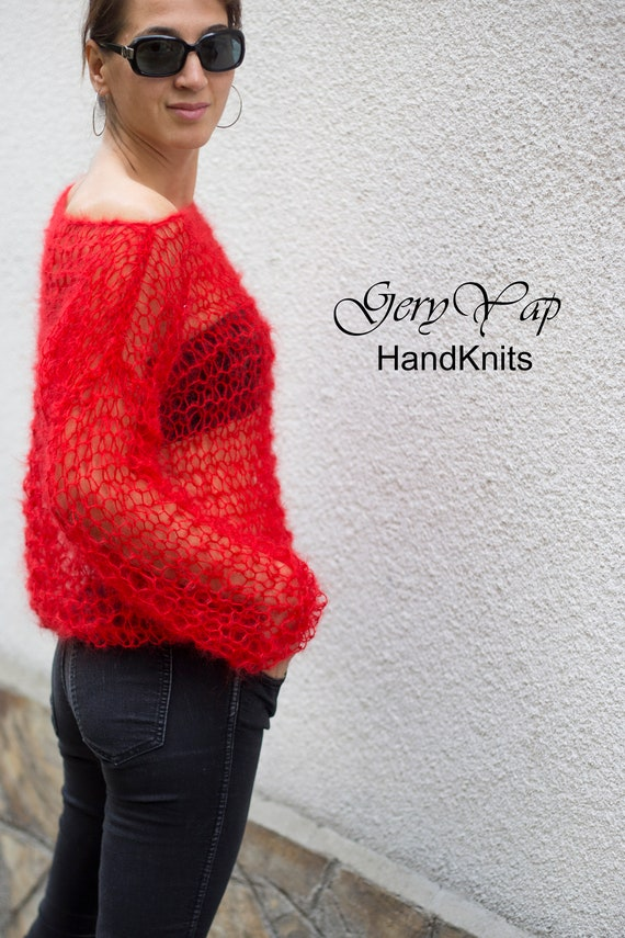 Hand knitted long hair mohair red lightweight womens sweater hand made boho style gift for her
