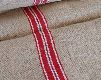 Feedsack Lumbar Pillow Heavy Upholstery Fabric GS104 Blue Indian Red Ticking fabric Grain sack Fabric Sack Striped Farmhouse Linen