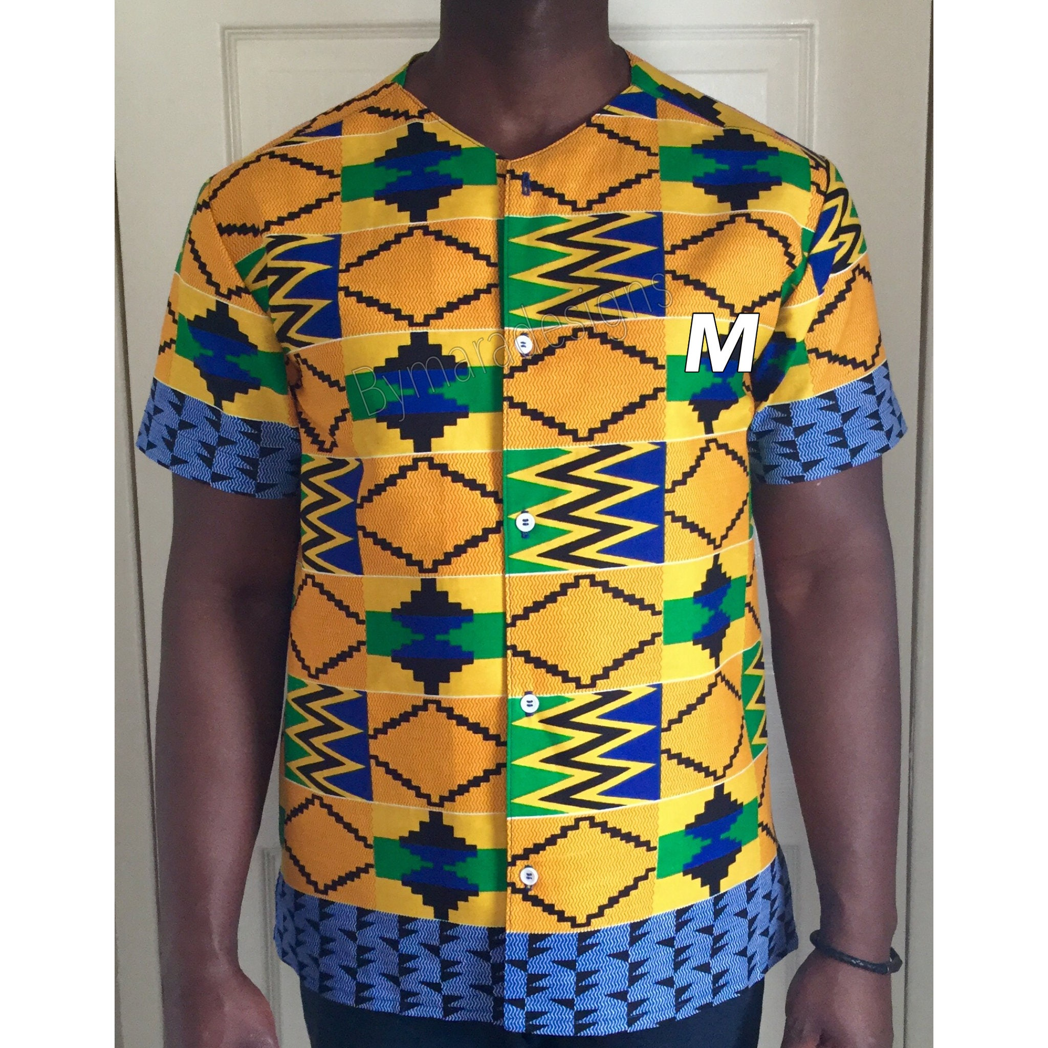 African men's shirt, short ,african sleeved. African fabric ,african short print. Medium size. 20785a