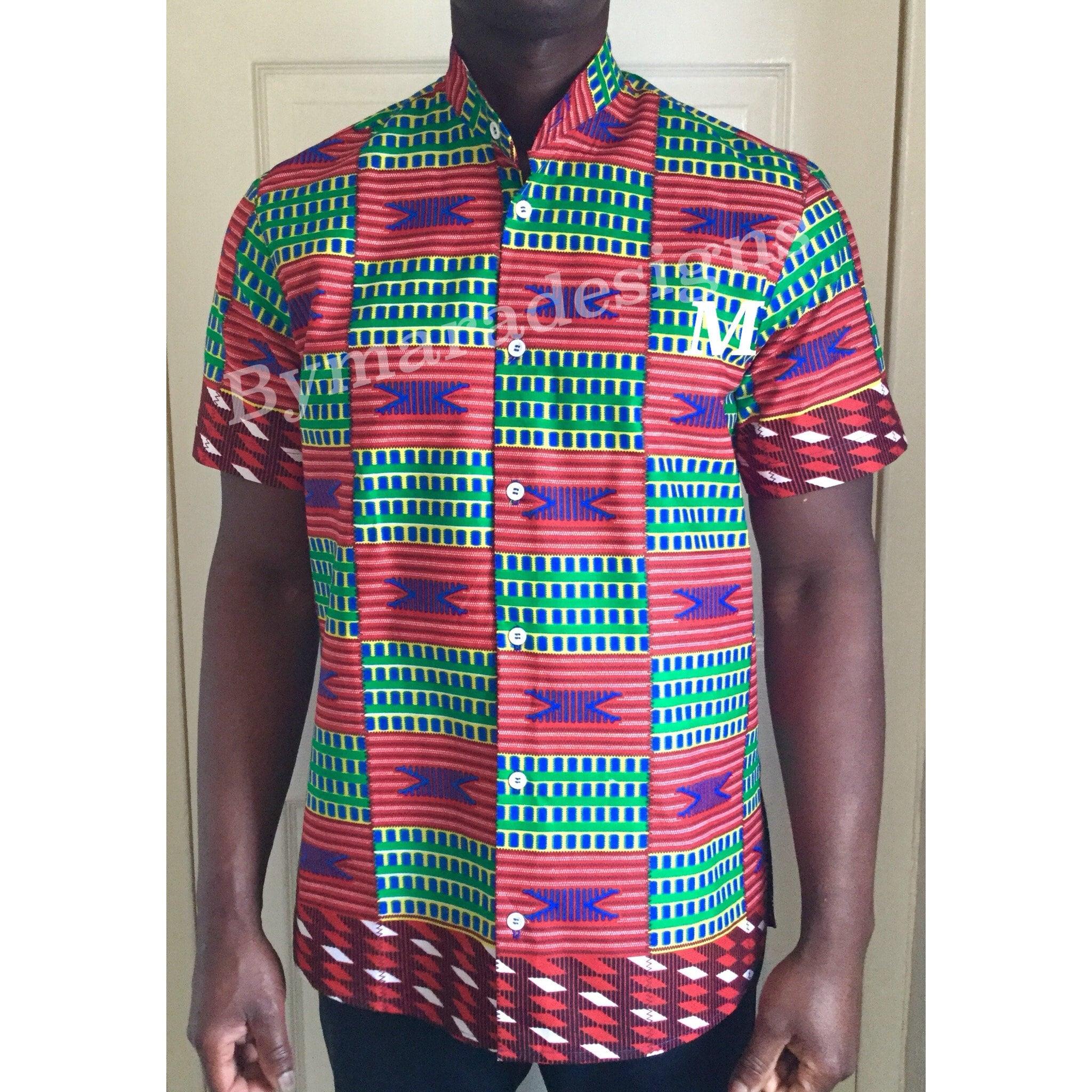 African man shirt, short sleeve, korean African collar. African korean fabric,wax print. 216307