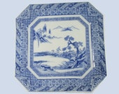 Antique Japanese Porcelain Igezara Inban Transfer Ware Blue White Square Charger