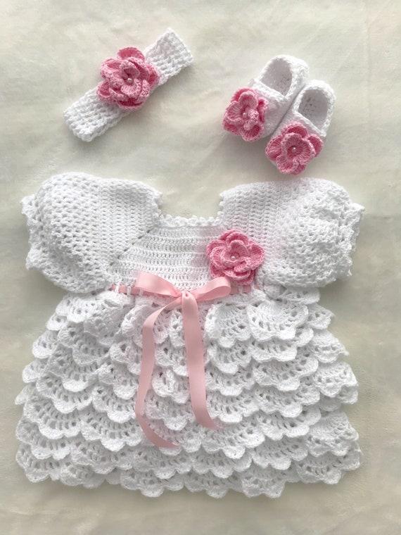 Handmade crochet PINK baby dress+headband set NewborN-6 MTHS-little SWEETIE