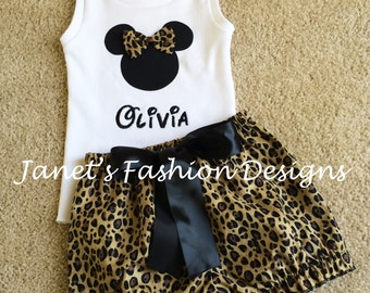 Leopard Minnie Mouse Shorts with White Tank Top Set - Disney Minnie Animal Print Personalized Birthday Girls - Animal Kingdom Outfit Trip