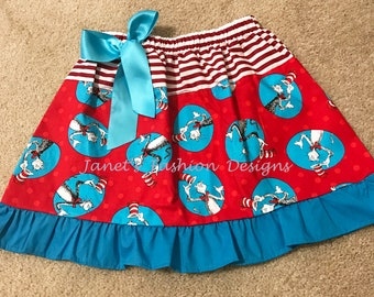 Cat in the Hat Skirt - Dr. Seuss Birthday - Cat in the Hat Fashion Skirt - Seus skirt - Turquoise and red skirt