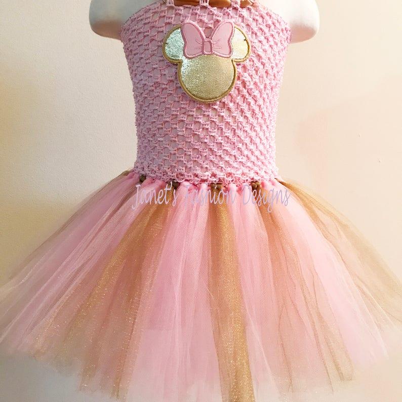 0c0c25c41 Oro y rosa Minnie Mouse inspirado Tutu vestido Disney