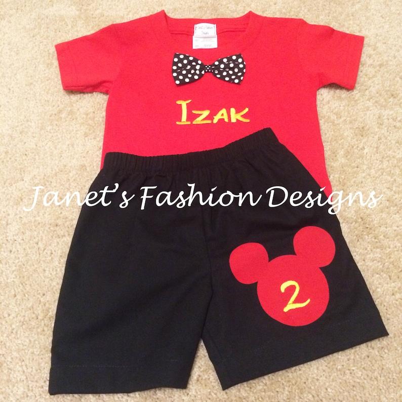 Camiseta Niños De Negro Y Pantalones Bordado Mouse Cumpleaños Traje Personalizado Disney Set Roja Mickey Cortos erdxoWCB